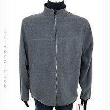 IZOD Men's LARGE Polar FLEECE GRAY JACKET with BLACK TRIM Coat OUTERWEAR