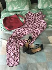 BNWT Atmosphere Aztec Pink/ Black Print Jumpsuit Size 18