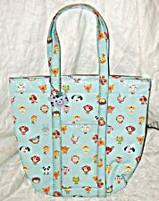 """PAPERCHASE"" colore blu pallido ragazze Sacco con CARTOON ANIMAL FACES & a KITTY KEY FOB"