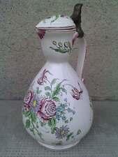 PICHET COUVERT faience decor floral 19 eme ? charniere etain pot pewter pitcher