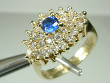 1369 Ring 14K Solid Yellow Gold & Clear White & Blue Center Stones Size 6 3/4