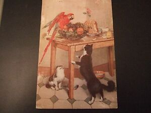 Postcard, by I Lapina, Paris, France, of a cat and parrot
