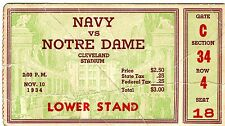 NOTRE DAME vs NAVY Football Ticket  - 1934-Full Ticket