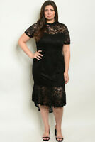 Womens Plus Size Black Lace Dress 2X High Low Lined