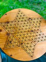"""Antique Chinese Checkers Wood Game Board Vintage Folk Art Lrg 22"""" Primitive Star"""