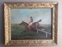 ANTIQUE OIL PAINTING 19th BRITISH STEEPLECHASE  JOCKEY ON HORSE JUMPING BY JOHN