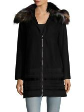 NWT Hiche' NY Black Novelty Trim Coat Real Dyed Fox Fur Collar sz S RETAIL $686