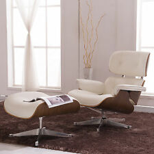 Eames Style Lounge Chair Ottoman Genuine 100% Top Grain Italian Leather Rosewood