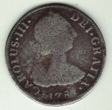 Rare, Historic 1780's Spanish Colonial MEXICO CITY Silver 2 REALES