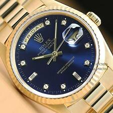 MENS ROLEX FACTORY BLUE DIAMOND DOUBLE QUICKSET 18K GOLD DAY-DATE PRESIDENT