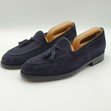 *NEW* Russell & Bromley UK 7 Broker Tassel Loafers Navy Blue Suede Leather Shoes