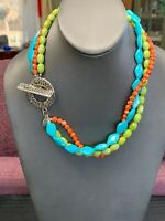 Women's Ladies Signed Premier designs Necklace Lucite 3 Strand Turquoise Green