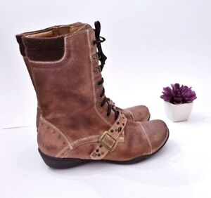 Taos Distressed Brown Zip Buckle Leather Mid Boots Women's Eu 37 US 6