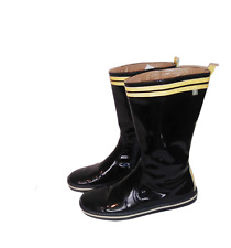 FURLA Black Patent Leather Boots w/Yellow Trim Flat Wedge sz 8