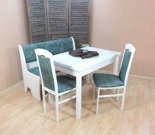 Essgruppe 4-tlg. Esstisch-Ausziehbar Truhenbank Stühle Farbe: Weiß/Opal-Vintage