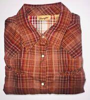 Vintage Wrangler Pearl Snap Men's Long Sleeve Large Red Brown Plaid Shirt