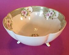 Nippon Footed Candy Nut Bowl - Green With Cherry Blossoms & Gold Moriage - Japan