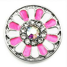 New Noosa Chunks Ginger Style Snap Button Charms Pink & White Dahlia 20mm
