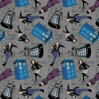 BBC Doctor Who Character Toss 100% Cotton fabric by the yard