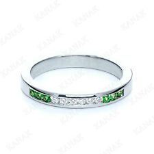 1/4 Ct Round Emerald & Natural Diamond Women's Wedding Band Ring 10k White Gold