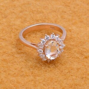 Rose Gold Plated Oval Topaz Ring 925 Sterling Silver CZ Gemstone Stackable Ring