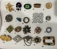 PICK A BROOCH PIN- VINTAGE -NOW - LOVELY EYE CATCHING RHINESTONES GLASS ETC BN10