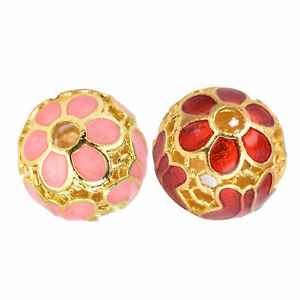 Cloisonne Loose Beads Gilding Edge Hollow Round Beads DIY Exquisite Practical