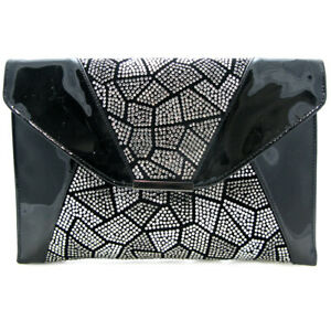 High fashion oversize Diamante Clutch bag Slim envelope prom party handbag gift