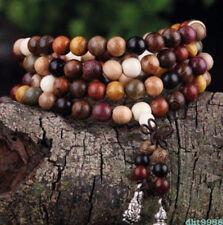 6mm Sandalwood Mala Beads 108Pc Tibet Silver Kuan-Yin Elastic bracelet/Necklace