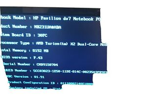 "HP Pavilion DV7-2185dex 17.3"" AMD Turion X2  PARTS OR REPAIR"