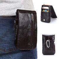 "Men Leather Clutch 7.5"" Handbag Purse Phone Case Climbing Bag with Belt hooks"