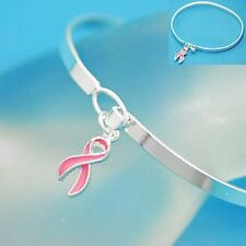 Breast Cancer Bracelet Pink Ribbon Charm Bangle Silver Plated New