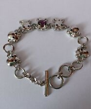 NEW Viennois Purple Crystal Monkey Bracelet Silver Bows Animals Toggle Bangle