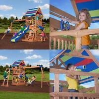 Swing Set Backyard Beach Jungle Wooden Cedar Playset Slide Kids Gym Outdoor Play