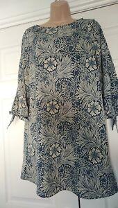 bnwt H&M X MORRIS & Co MINI DRESS UK 8 BLUE CREAM FLORAL SHIFT TUNIC TIE SLEEVE