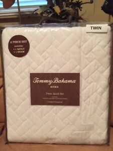Tommy Bahama Home Twin Quilt Sham 2 PC Set Solid White Quilted 100% Cotton NIP