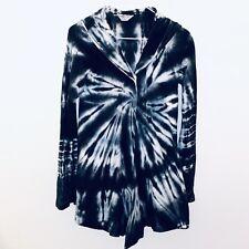Hard Tail Tie Dye Hoodie Sweatshirt Top Black White Cardigan Sz S Long Sleeve