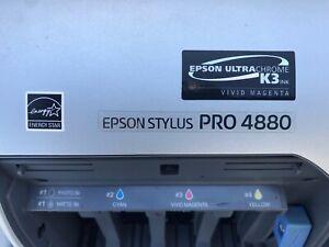 "2 Stylus Pro 4880 Large Format Printer 17"" Epson UltraChrome K3 Needs Rebuild"