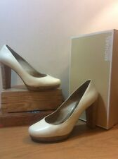 MICHAEL KORS Ivory Patent Leather Cork Heel Platform PUMPS- Size 9.5M