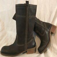 Vagabond Dark Grey Mid Calf Leather Lovely Boots Size 36 (678vv)