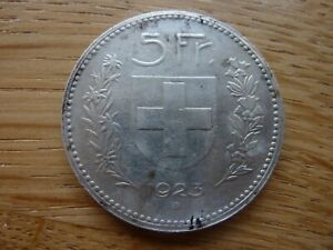 1923 Large Crown Size Switzerland 5 Franc Silver Coin 25 grams (ref10G)