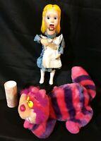 Antique Alice in Wonderland LOT Wooden Marionette Puppet Doll + Cat + Powder A+!