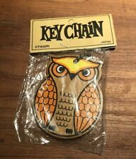 Vintage 1970's Wood Slab Owl Keychain Otagiri Japan Original Packaging