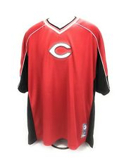 Cincinnati Reds MLB Majestic Red Baseball Pullover Jersey Patches Men's 2XL A06
