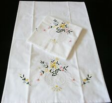 New Pair PillowCases White Cotton Sateen Embroidered  Pillowsham Standard G2#