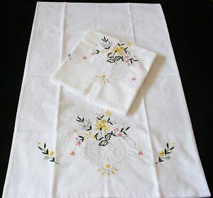 New Pair PillowCases White Cotton Sateen Embroidered  Pillowsham Standard G2#