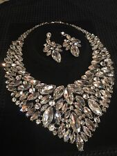 Rhinestone Statement Necklace And Earrings Pageant