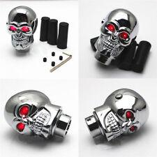 Universal Chrome Red LED Aluminium Metal Terminator Skull Gear Shift Knob New