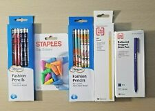 4 Items Fashion Pencils, Pens, Wood Pencils, Cap Erasers Hb-108 Comb/Ship Availa