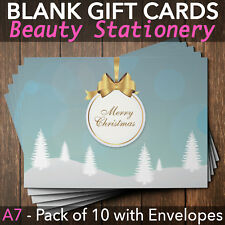Christmas Gift Voucher Blank Beauty Salon Card Nail Massage x10 A7+Envelopes